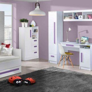 Dětský pokoj GULLIWER bílý lesk/fialová