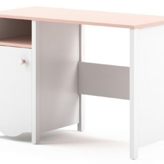 Pracovní stůl 1D1S MIA MI-03, bílý/růžový