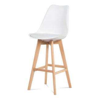 Jídelní židle CTB-801 WT, bílý plast+ekokůže/buk masiv