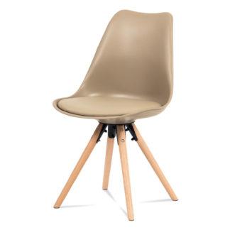 Jídelní židle CT-805 CAP, cappuccino plast+ekokůže/buk masiv