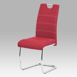 Jídelní židle HC-482 RED2, červená látka/chrom