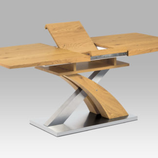 Jídelní stůl rozkládací 160+40x90 cm HT-71, dub divoký/broušený nerez