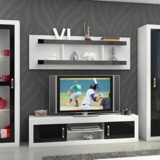 Obývací stěna VERIN 4, bílá/černý lesk