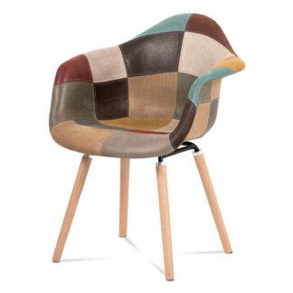 Jídelní židle CT-728 PW3, vícebarevná látka patchwork/buk masiv