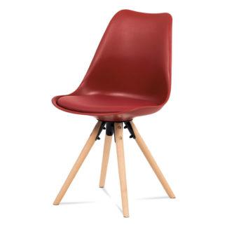 Jídelní židle CT-805 RED, červený plast+ekokůže/buk masiv