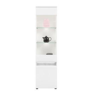 N5 - Vysoká vitrína NEO N5 levá s LED osvětlením, vysoký bílý lesk/beton