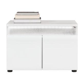 N14 - Nízká skříňka NEO N14 s LED osvětlením, vysoký bílý lesk/beton