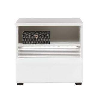 N18 - Noční stolek NEO N18 s LED osvětlením, vysoký bílý lesk/beton