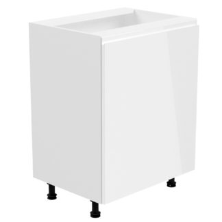 ASPEN, dolní skříňka D60L levá, korpus bílý, dvířka bílý lesk
