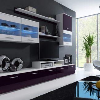 LOGGO II, obývací stěna, bílá/fialový lesk