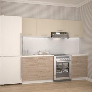 Kuchyně KATIA 160/220 cm, korpus: bílá, dvířka: béžová/dub san marino