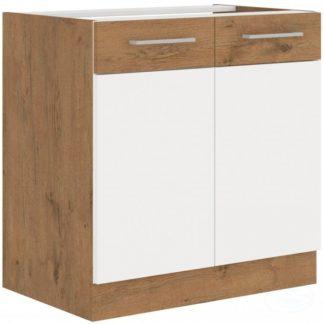 Kuchyňská dřezová skříňka Vigo 80ZL  dub lancelot/bílý lesk - FALCO