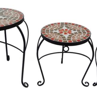 Sada stolků (3 ks) Mosaic, černá/červená