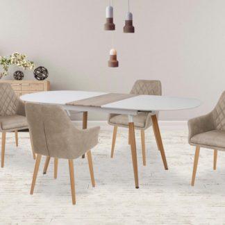 Jídelní stůl rozkládací CALIBER bílá / dub san remo Halmar