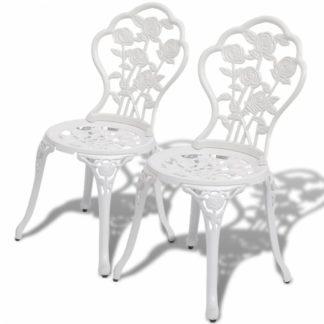 Zahradní bistro židle 2 ks litý hliník Bílá