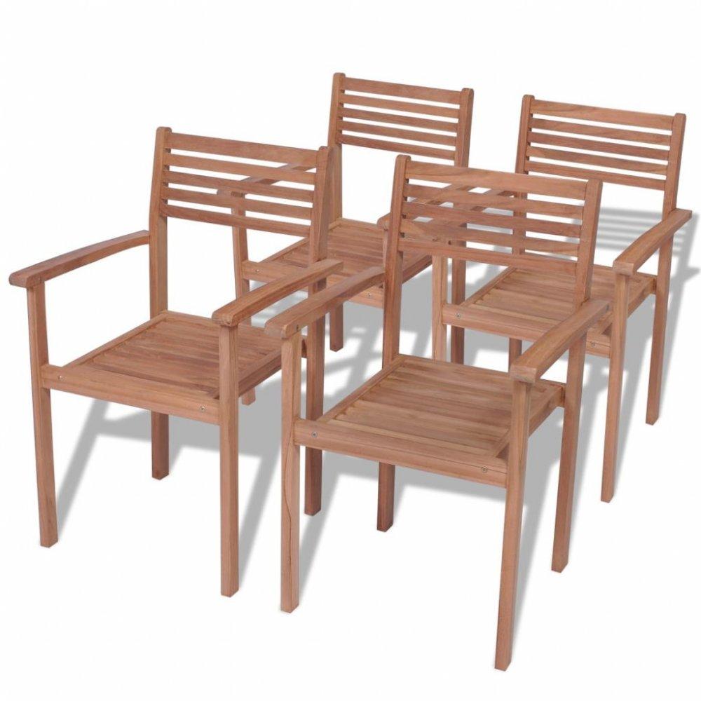 Zahradní stohovatelné židle 4 ks teak