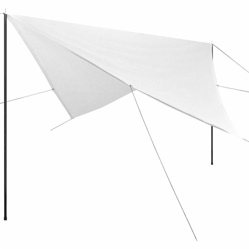 Plachta proti slunci s tyčemi čtvercová 5x5 m Bílá