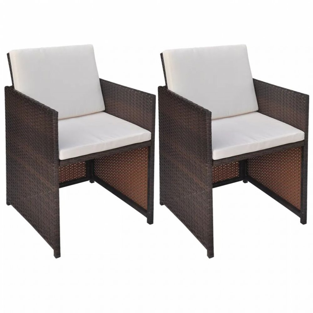 Zahradní židle s poduškami 2 ks polyratan Hnědá
