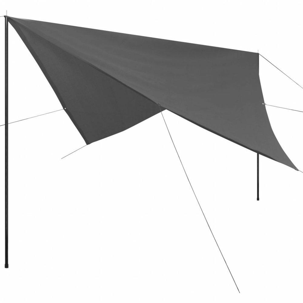 Plachta proti slunci s tyčemi čtvercová 5x5 m Antracit