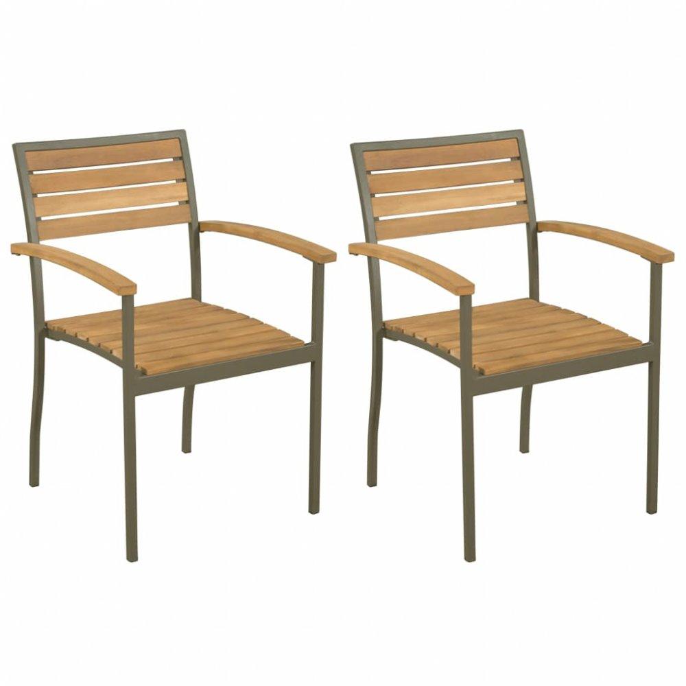 Stohovatelné zahradní židle 2 ks hnědá / černá