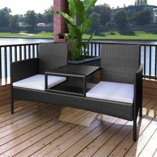 Polyratanová dvousedačková lavička s čajovým stolkem černá