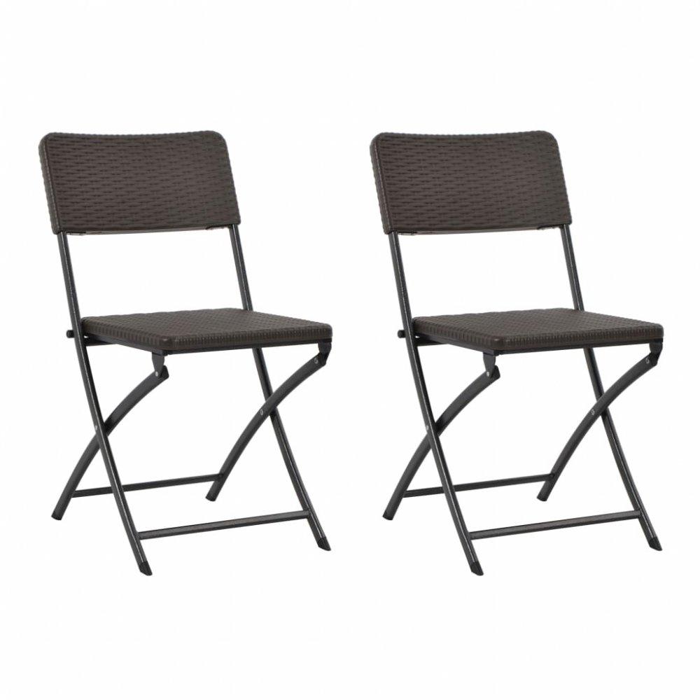 Skládací zahradní židle 2 ks hnědá
