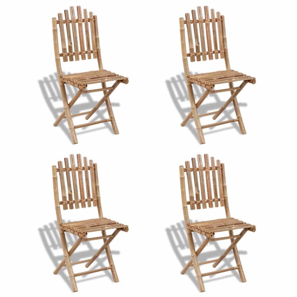 Skládací zahradní židle 4ks bambus