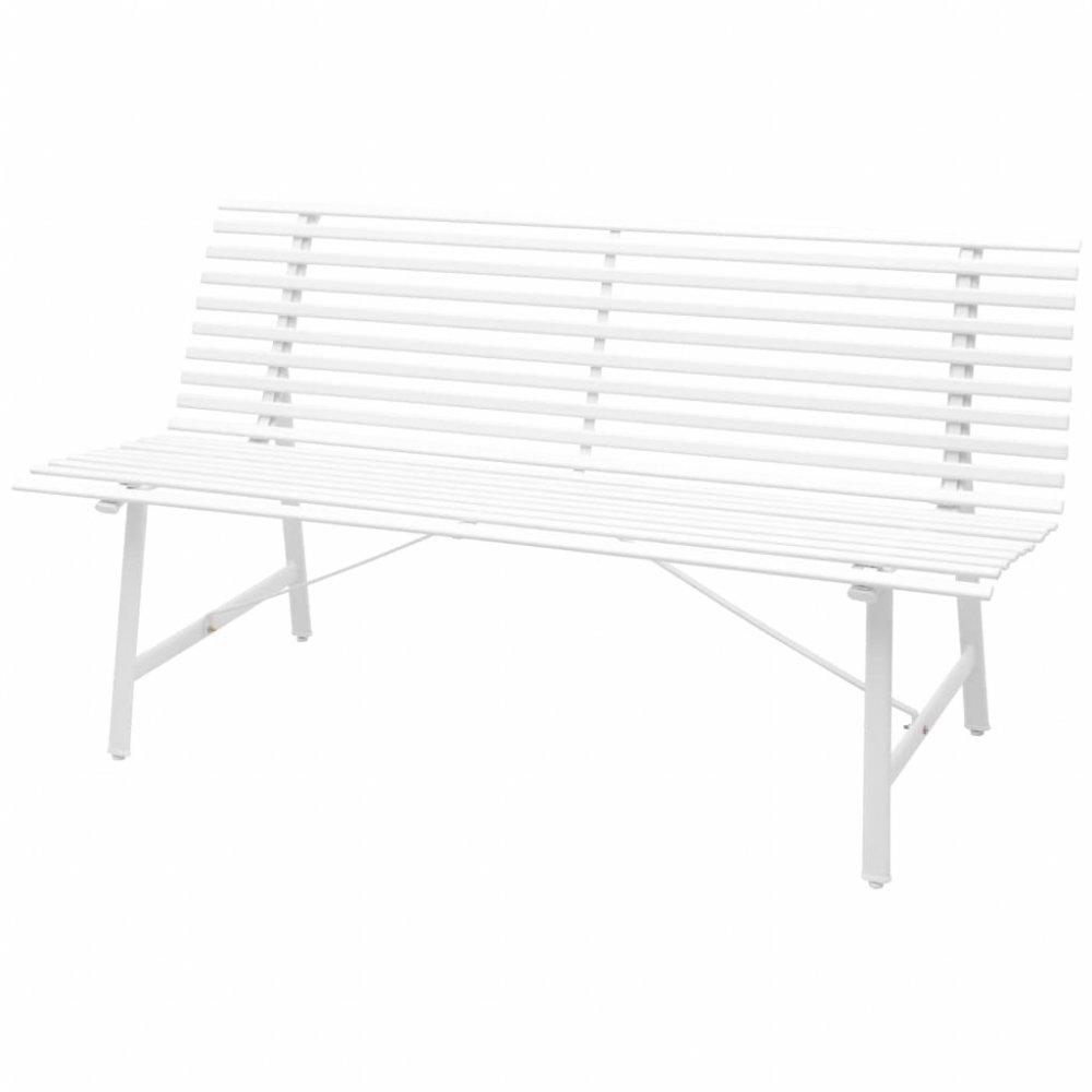 Ocelová zahradní lavička Bílá
