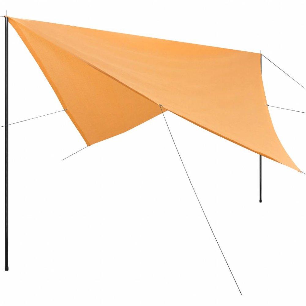 Plachta proti slunci s tyčemi čtvercová 4x4 m Béžová