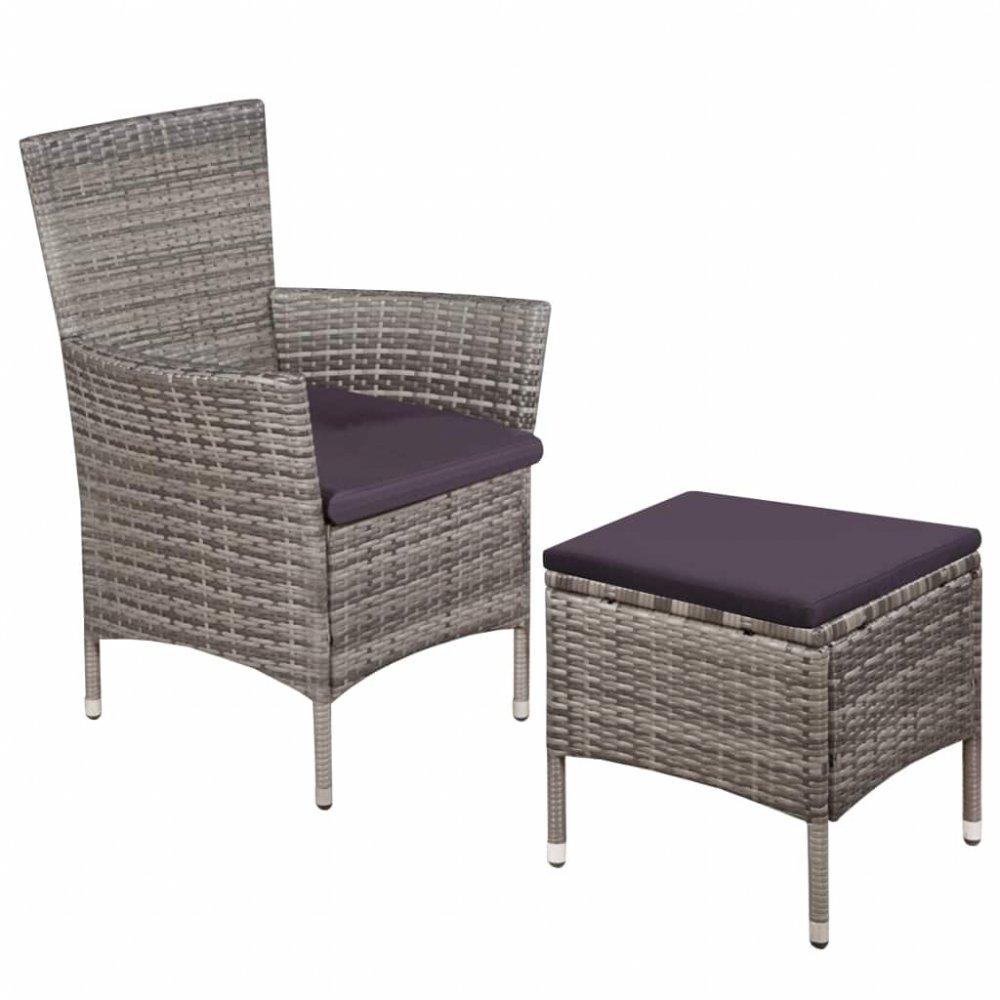 Zahradní židle s taburetem polyratan Šedá