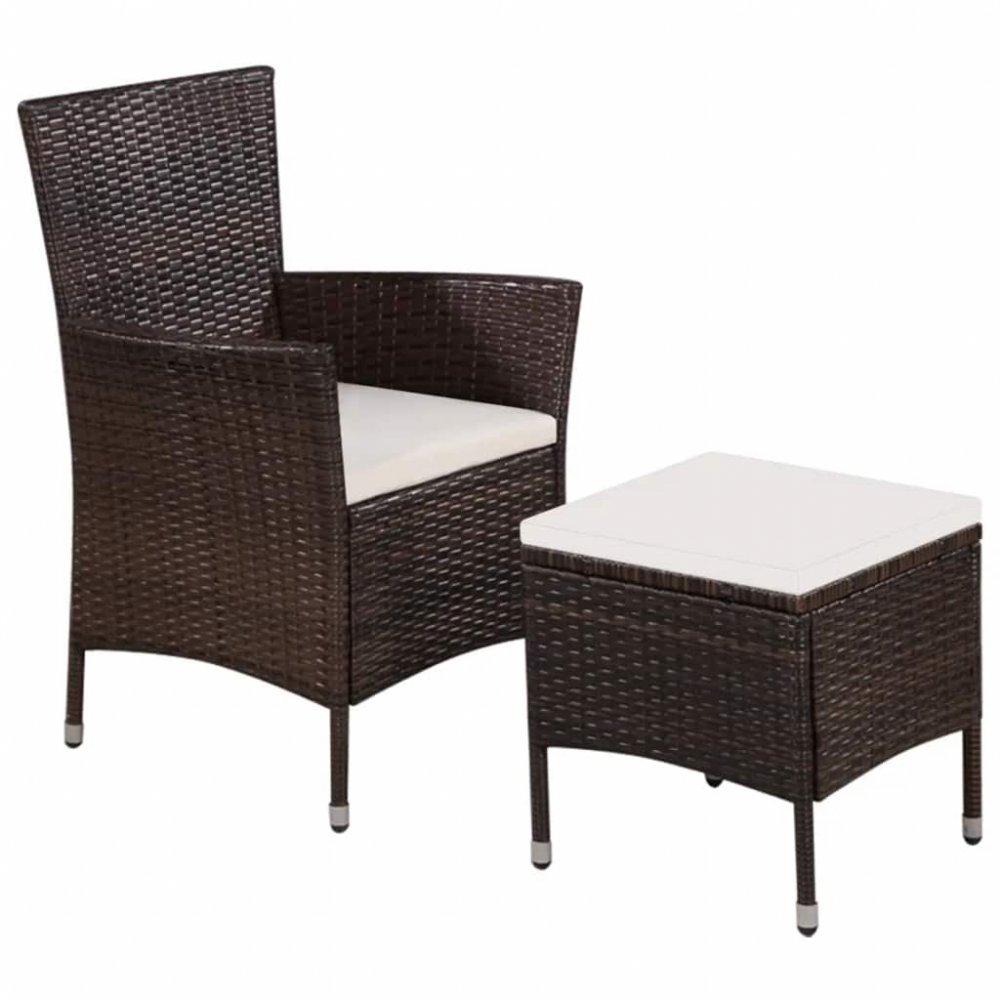 Zahradní židle s taburetem polyratan Hnědá