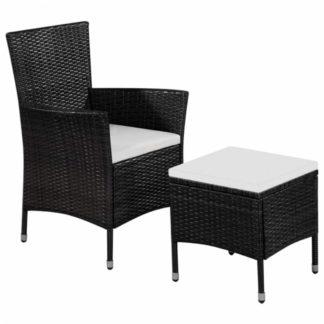 Zahradní židle s taburetem polyratan Černá