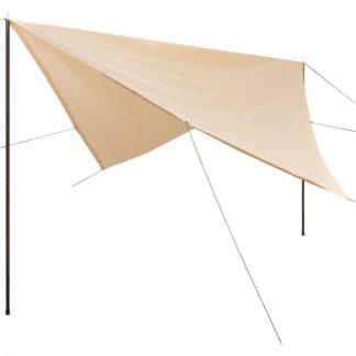 Plachta proti slunci s tyčemi čtvercová 3x3 m Krémová