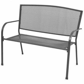 Ocelová zahradní lavička s područkami antracit