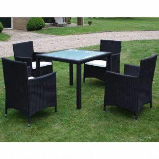 Zahradní jídelní set 9 ks polyratan Černá
