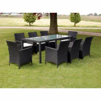 Zahradní jídelní set 17 ks polyratan Černá