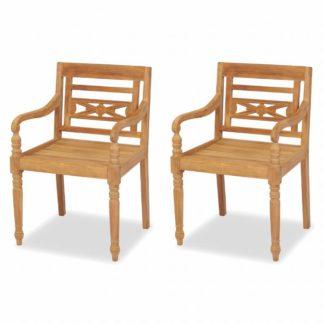 Teaková zahradní židle BATAVIA 2 ks hnědá