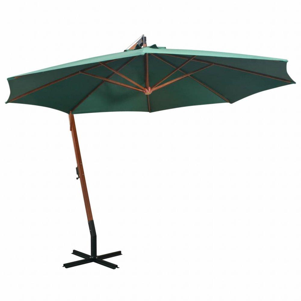 Závěsný slunečník s dřevěnou tyčí Ø 350 cm Zelená