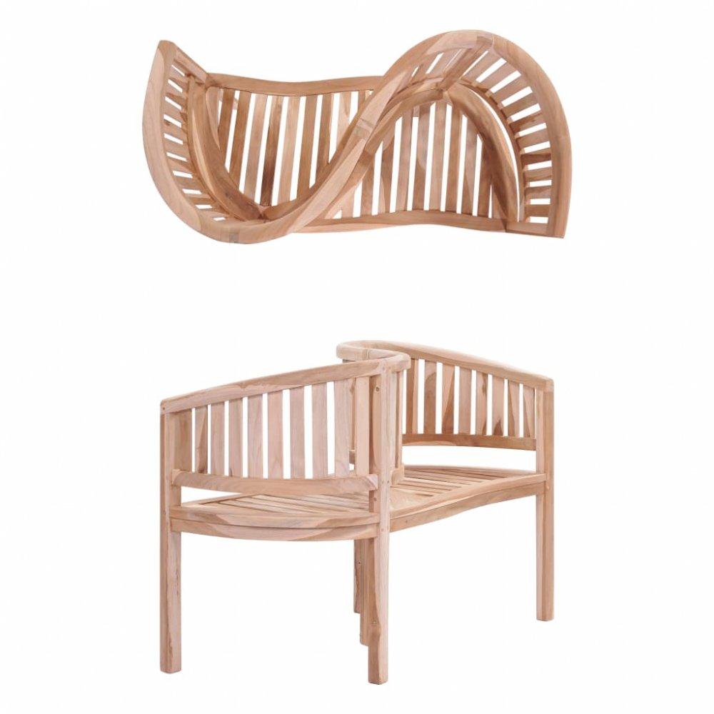 Zahradní lavička ve tvaru písmena S z teakového dřeva