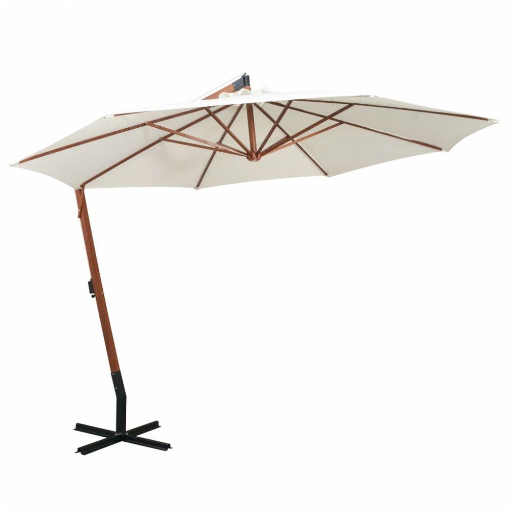 Závěsný slunečník s dřevěnou tyčí Ø 350 cm Bílá