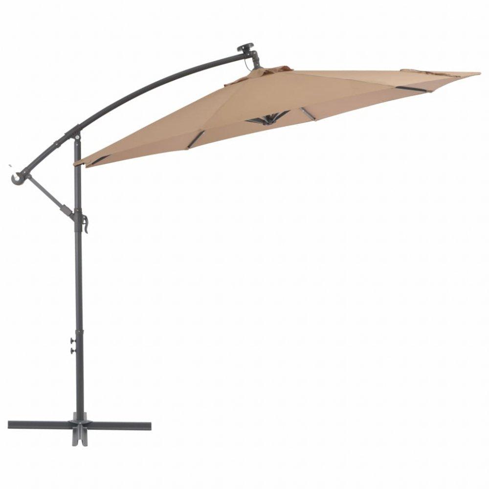 Konzolový slunečník s LED světly Ø 300 cm Šedohnědá