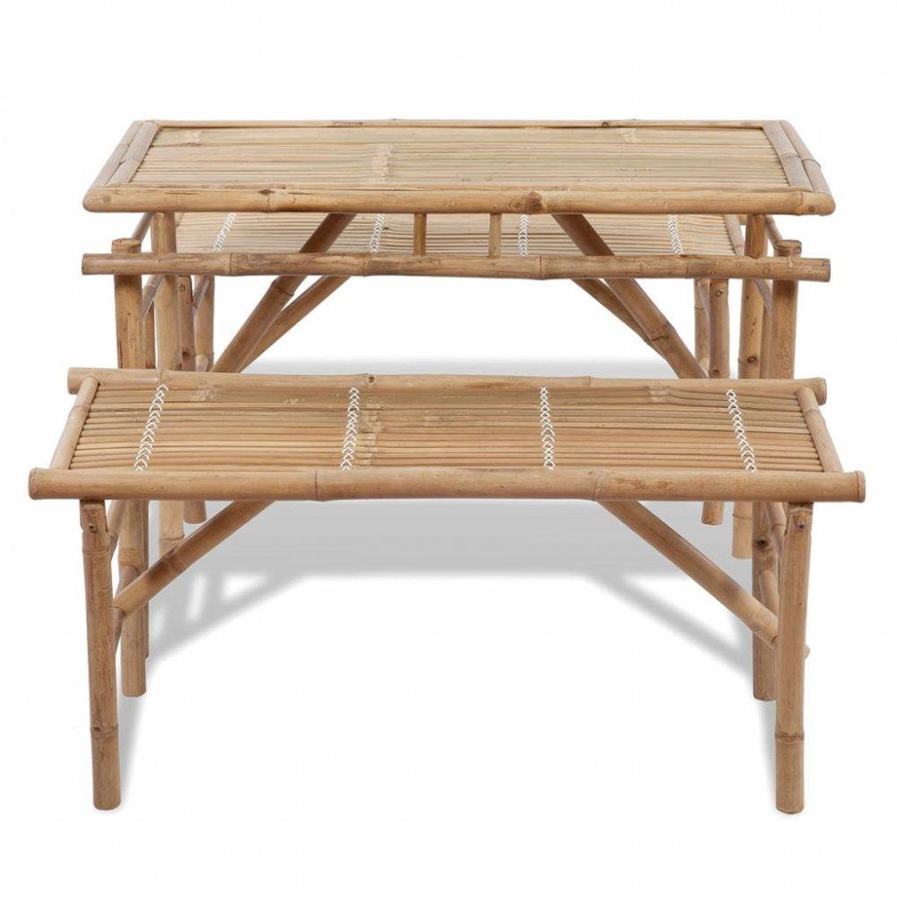 Zahradní piknikový set stůl + 2 lavice bambusový