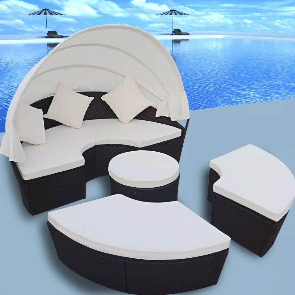 Zahradní postel s baldachýnem 12 ks polyratan Černá