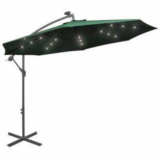 Konzolový slunečník s LED světly Ø 300 cm Zelená