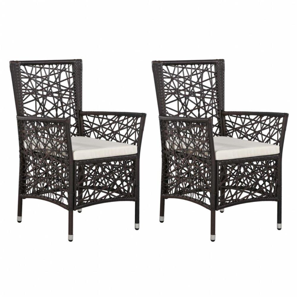 Zahradní židle 2 ks polyratan Hnědá