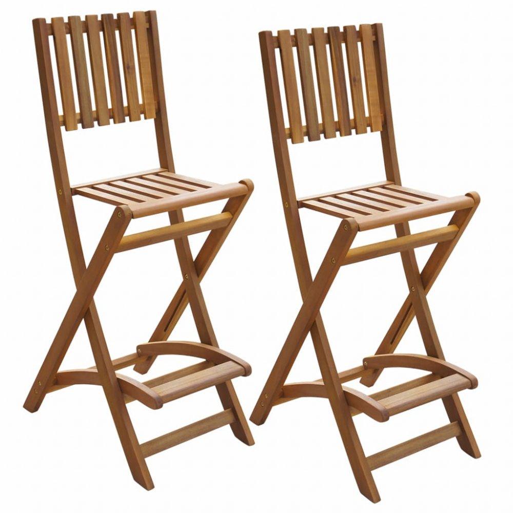 Skládací venkovní barové židle 2 ks hnědá