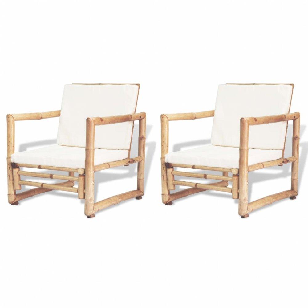 Zahradní židle 2 ks bambus / bílá