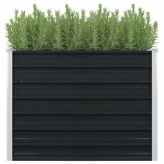 Vyvýšený zahradní truhlík 100 x 100 x 77 cm pozinkovaná ocel Antracit