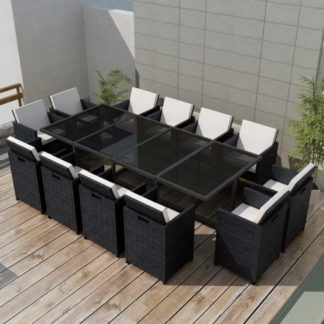 Zahradní jídelní set 37 ks polyratan Černá