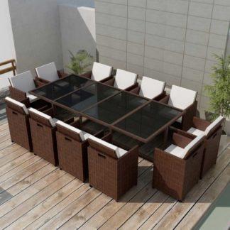 Zahradní jídelní set 37 ks polyratan Hnědá